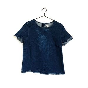 Merona Denim Frayed Top